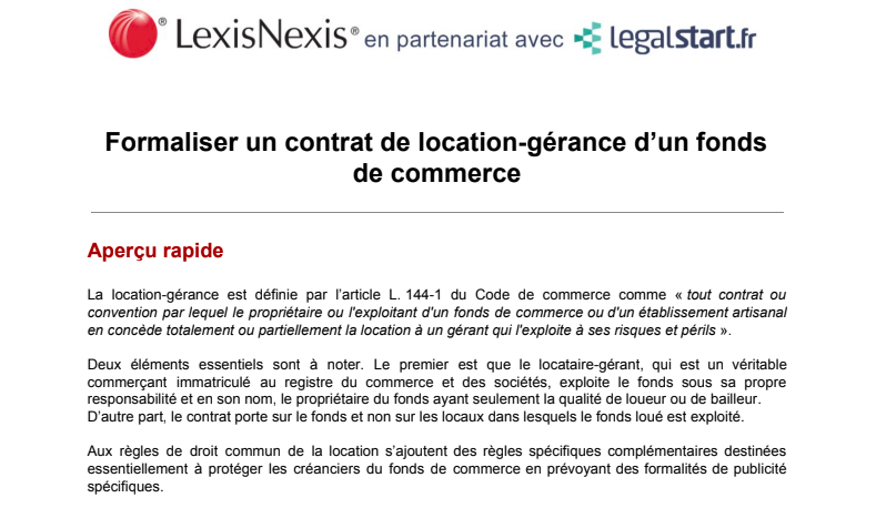 Formaliser Un Contrat De Location Gerance