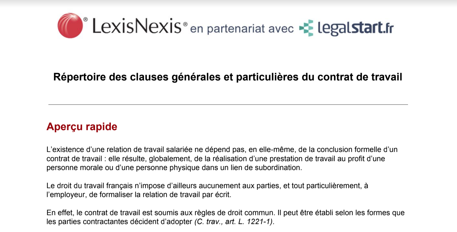 Repertoire Des Clauses Generales Et Particulieres Du Contrat De Travail