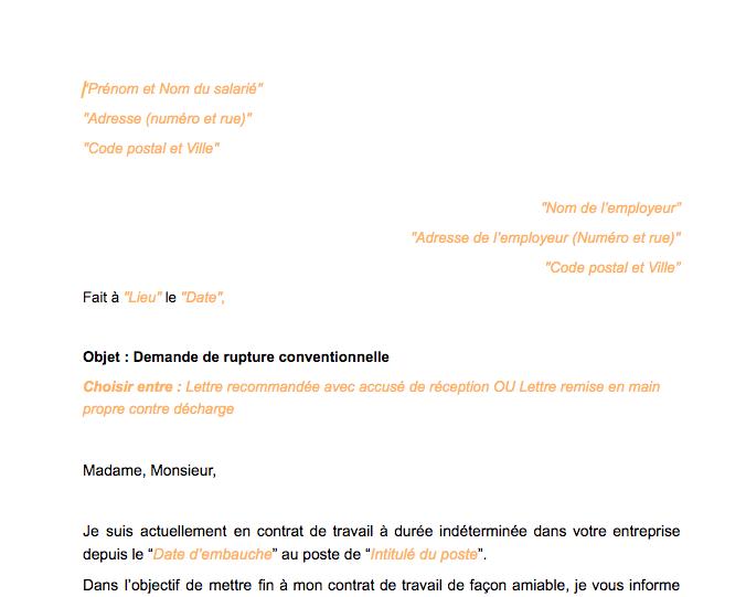 Lettre Rupture Conventionnelle Du Contrat De Travail à Durée