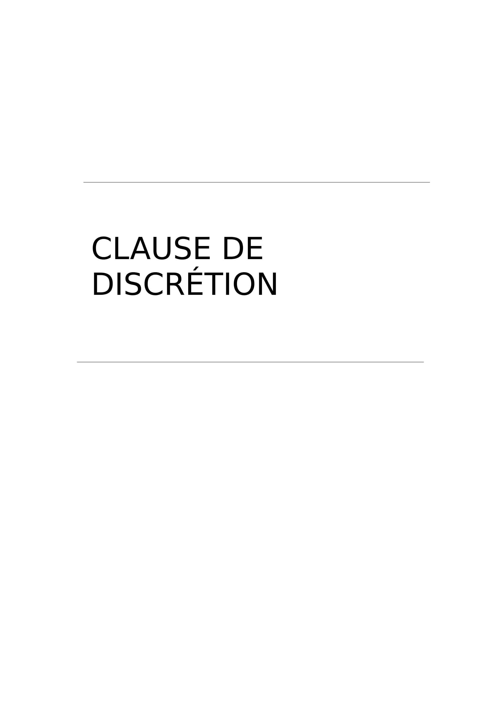 Modele De Clause De Discretion Gratuit