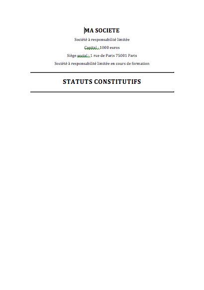 Modele De Statuts Eurl Gratuit