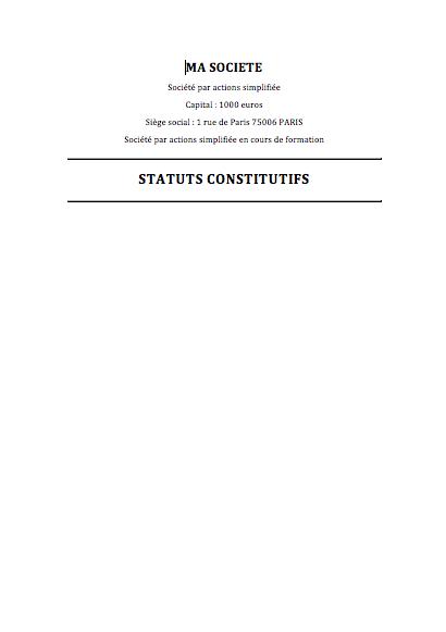 Modele De Statuts De Sas Gratuit