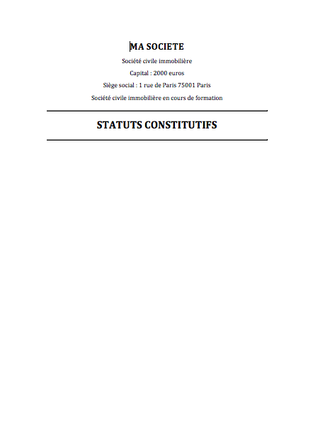 Modele De Statuts De Sci Gratuit